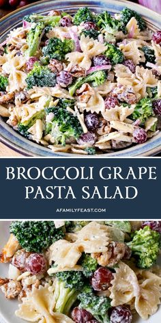 Broccoli Grape Pasta Salad - A Family Feast® This easy Broccoli Grape Pasta Salad is a crowd-pleasing side dish for any occasion! Pasta Cremosa, Pasta Casera, Pasta Recipes, Salad Recipes, Cooking Recipes, Healthy Recipes, Lunch Recipes, Drink Recipes, Cooking Tips