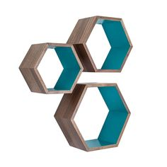 Walnut Nesting Hexagon Shelves - Set of 3 just add some elastic netting to the front and then they are perfect