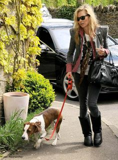 Kate Moss with her pet dog Archie