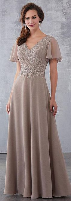 A-Line/Princess Scoop Neck Floor-Length Chiffon Lace Mother of the Bride Dress With Crystal Brooch Sequins - Mother of the Bride Dresses - JJ's House Lace Evening Dresses, Sexy Wedding Dresses, Cheap Wedding Dress, Designer Wedding Dresses, Lace Dress, Gown Wedding, Chiffon Dress, Mother Of Groom Dresses, Bride Groom Dress