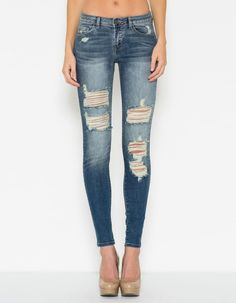 In Destruction Skinny Jeans - Blue Black | Spandex, Design and Nova