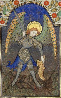 Saint Michel et le dragon (f°165r) -- Horae ad usum romanum («Heures de Marguerite d'Orléans»), entre 1426 et 1438 [BNF Ms Latin 1156B]