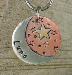 custom dog id tag Luna moon and stars pet id tag by DoggoneTags, $23.00