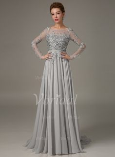 A-Line/Princess Scoop Neck Sweep Train Lace Chiffon Zipper Up Sleeves Long Sleeves No 2015 Silver Spring Fall Winter Mother of the Bride Dress