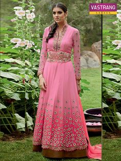 Pink #Embroidered #Suit With Pure #Bemberg #Chiffon Dupatta @http://goo.gl/nugCdi