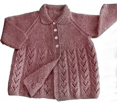 Vintage Knitting Pattern by Patons for 3 or 4 ply wool. A baby's cardigan/raglan sleeve jacket pattern, with a lacy skirt and a neat collar. Gorgeous Knitted Jacket - so warm and cuddly, knitted in a...