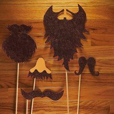 Brown Beard Glitter Photo Booth Prop Set  Glitter by LoveMischka