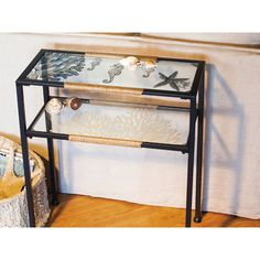 Evergreen Enterprises, Inc Glass and Metal Pen and Ink Sea Shell Console Table & Reviews | Wayfair