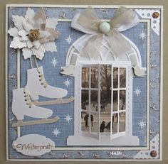 AnDo Creatief: Winterpret............. Christmas Card Crafts, Xmas Cards, Christmas Art, All Things Christmas, Handmade Christmas, Christmas Decorations, Marianne Design Cards, Window Cards, Fancy Fold Cards