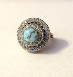 Vintage Blue Rhinestone German Ring 1940's Cocktail Ring Costume Jewelry Ring Blue Danube Dream