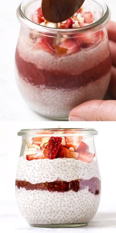 Strawberry Cheesecake Chia Pudding - The best recipe for chia seed pudding of all . - Strawberry Cheesecake Chia Pudding – The best recipe for chia seed pudding ever! This healthy strawberry cheesecake chia puddin – - Best Chia Seed Pudding Recipe, Pudding Recipes, Casserole Recipes, Chia Pudding Coconut Milk, Overnight Chia Seed Pudding, Chai Pudding, Coconut Chia Seed Pudding, Vanilla Chia Pudding, Keto Chia Pudding