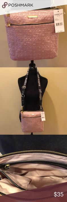NWT Madden Girl Blush Crossbody Bag NWT Madden Girl Blush Crossbody Bag. Beautiful blush color and quilted pattern. Zippers are gold on main pocket and second pocket. Black strap with white Madden Girl wording. Gorgeous bag! Madden Girl Bags Crossbody Bags