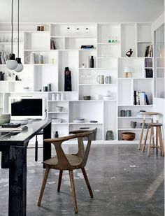 Great, decorative bookcase thanks to the many irregular shelves! Full Wall Bookcase of Painted MDF in Renovated Farmhouse in Denmark, Remodelista Interior Windows, Home Interior, Interior Decorating, Danish Interior, Interior Architecture, Decorating Ideas, Decor Ideas, Deco Design, Design Case