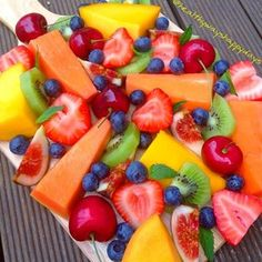 Fruit salad ☀️✅ can't wait for summer so we can enjoy all these amazing tropical fruits  www.kaylaitsines.com.au/guides