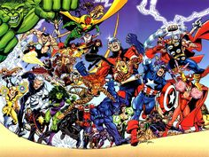 The Avengers - in 1998 artist George Perez Assembles all former and living members in this volume 3 #1 cover issue (own it).