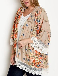 Floral Fantasy Kimono Top Jacket Crocheted Lace Trim Taupe Floral Print Plus Size XL/1XL   1XL/2XL