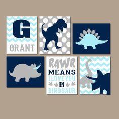 DINOSAUR Wall Art Canvas or Prints Dino Theme Decor by TRMdesign