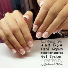 Short nails square shape nails, Acrylic nails, French manicure