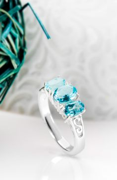 As the weather gets chilly, we long for the days when we could swim in warm waters as blue as this apatite! | 1.70ctw Oval Madagascar Blue Apatite Sterling Silver Ring