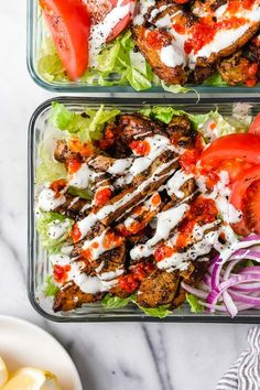 Halal Food Cart inspired chicken served over a big salad of lettuce and tomatoes drizzled with a yummy white sauce. Bbq Chicken Salad, Chicken Salad Recipes, Halal Recipes, Healthy Recipes, Healthy Meals, Vitamix Recipes, Amish Recipes, Fast Recipes, Dog Recipes