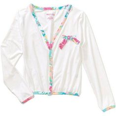 Colette Lilly Fresh Bouquet Double Peached Cardigan with Lace Trim, Size: 14/16, White