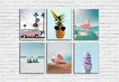Pink Combi Van Print/California Wall Art/Pink Flamingo Poster/Pineapple Wall Print/Shell/Icecream/Palmtree/VW/Beach/Ocean/Vacation/Travel Vw Beach, Beach Trip, Vacation Travel, Vacation Trips, As You Like, Just In Case, Frame Download, International Paper Sizes, Etsy App