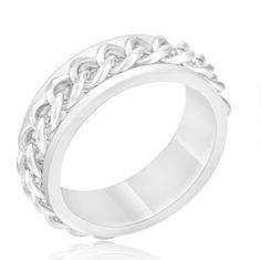 $9.99 - Polished Stainless Steel Men's Ring With Chain Link Inset