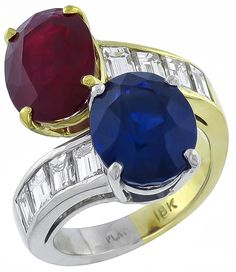 Vintage 5.95ct Sapphire 4.63ct Ruby 1.50ct Diamond Ring