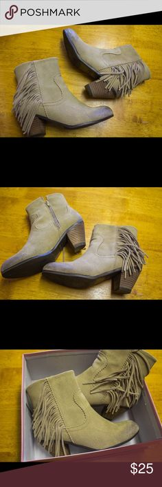 Suede Heeled Fringe Boots Nordstrom / Crown Vintage / size 7.5 / tan suede / healed booties with fringe / super cute / worn maybe once / great condition / comes from good clean home Nordstrom Shoes Ankle Boots & Booties