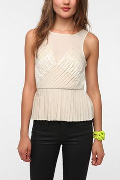 Pins and Needles Accordion Pleat Peplum Tank Top  #UrbanOutfitters