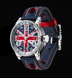 La V7-38-UK. Modèle incontournable de la marque, la V7-38 arbore les couleurs du drapeau anglais avec un sens de l'esthétique et une harmonie du design inédits. http://www.brm-manufacture.com/