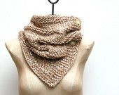 Ready to Ship: The Cabeletta Scarf ~ Hand Knit 100% Baby Alpaca Cable Infinity Cowl with Buttons in Oats and Cream