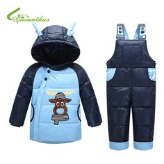 42.83$  Watch now - http://ali4lc.worldwells.pw/go.php?t=32747533464 - Children Winter Down Jacket Boys Warm Hooded Outerwear Coats Girls Clothing Set Kids Ski Suit Jumpsuit for Baby Bobys Overalls 42.83$