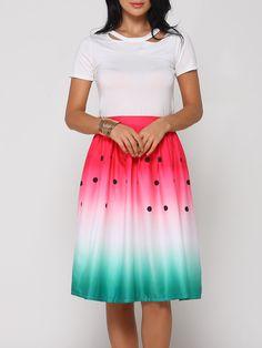 Gradient Printed Midi Skirts