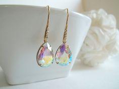 Aurora Borealis Rhinestone Earrings Rhinestone Jewelry #etsymntt #bridalearrings