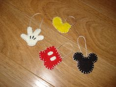 Mickey  Mouse inspired ornaments Wool Felt by 3LaughingPumpkins