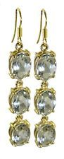 Green Amethyst Gold Plated Earring L-1.5in good Green jewelry AU gift