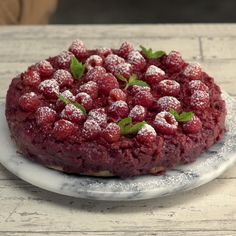 This moist raspberry upside-down cake can also turn frowns upside down.