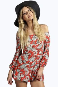 Joni Paisley Off The Shoulder Playsuit at boohoo.com