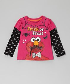 Take a look at this Bright Pink 'Trick Or Treat' Elmo Layered Tee - Toddler by Sesame Street on #zulily today!