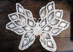 SOLD Old Handmade Crochet BUTTERFLY Doily IVORY via Orphaned Treasures Etsy