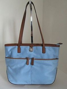 Michael Kors Kempton Sky Blue Nylon Pocket Tote Shopper Top Zip Double Handle