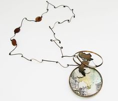 Necklace: When I Got Lost…, 2013 Brass, antique books, glass, enamel 9 x 9.2 x 8 cm[copyright reserved to @IsabellaLiu]