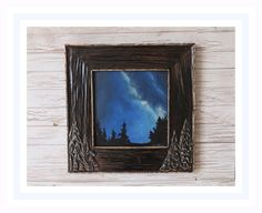 Excited to share the latest addition to my shop: Night Sky painting in Handcarved Wood Frame Night Sky Painting, Night Skies, Hand Carved, Stained Glass, Original Art, Curly, Wood, Frame, Handmade Gifts