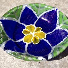 """Blue Primrose"" Fused glass dish"