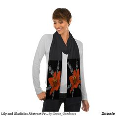 Lily and Gladiolas Abstract Print Scarf