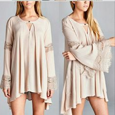 New Bell Sleeve Lace Tunic Top Dress
