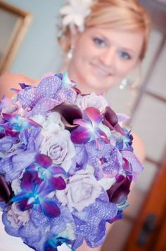 Purple and blue bouquet Flowers by KP Event Design in Kansas City