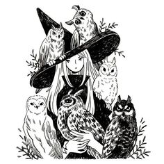 Heikala Inktober day A witch and six owl familiars Don't talk to me or my six flying cats ever again. Art And Illustration, Illustrations, Arte Inspo, Kunst Inspo, Fantasy Kunst, Fantasy Art, Witch Drawing, Art Tumblr, Witch Art