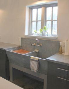 slate farm sink - slate farm sink with angled front and integral backsplash - molly frey design via atticmag